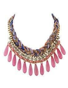 Hotpink Long Beads Statement Bubble Bib Necklace