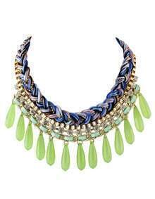 Green Long Beads Statement Necklace