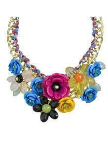 Blue Resin Rhinestone Statement Flower Necklace
