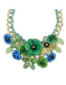 Green Resin Rhinestone Statement Flower Necklace