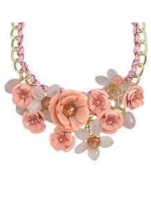 Pink Resin Rhinestone Statement Flower Necklace