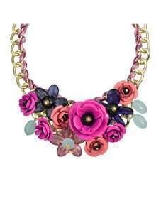 Hotpink Resin Rhinestone Statement Flower Necklace