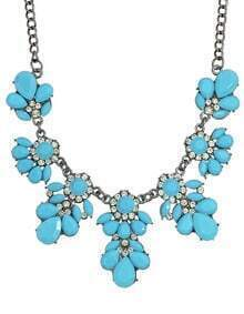 Blue Gemstone Statement Flower Necklace