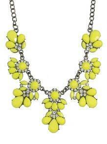 Yellow Gemstone Statement Flower Necklace