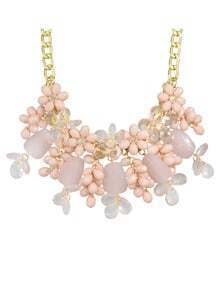 Pink Beautiful Resin Chunky Statement Flower Necklace