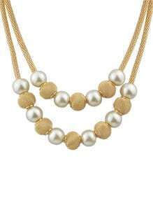 Gold Plated Ball Pearl Necklace