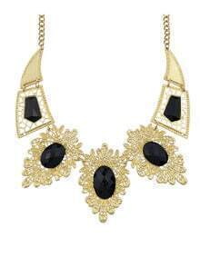 Black Imitation Gemstone Statement Collar Necklace