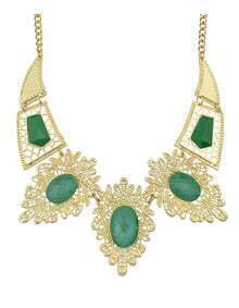 Green Imitation Gemstone Statement Collar Necklace