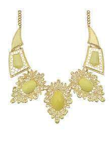 Yellow Imitation Gemstone Statement Collar Necklace