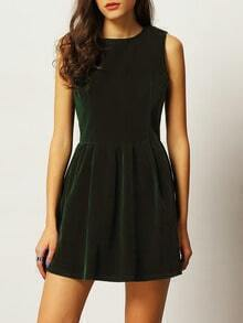 Green Stand Collar Ruched Loose Dress