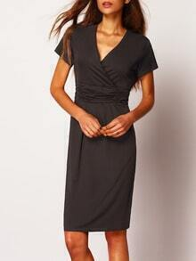 Black V Neck Short Sleeve Slim Dress