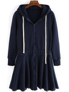 Navy Drawstring Hooded Pleated Sweatshirt Dress