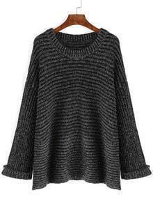 Black Round Neck Rib Loose Sweater
