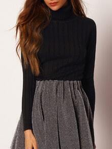 Black Turtle Neck Rib Loose Sweater