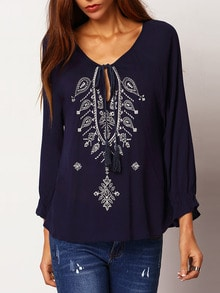Navy Tie-neck Embroidered Loose Blouse