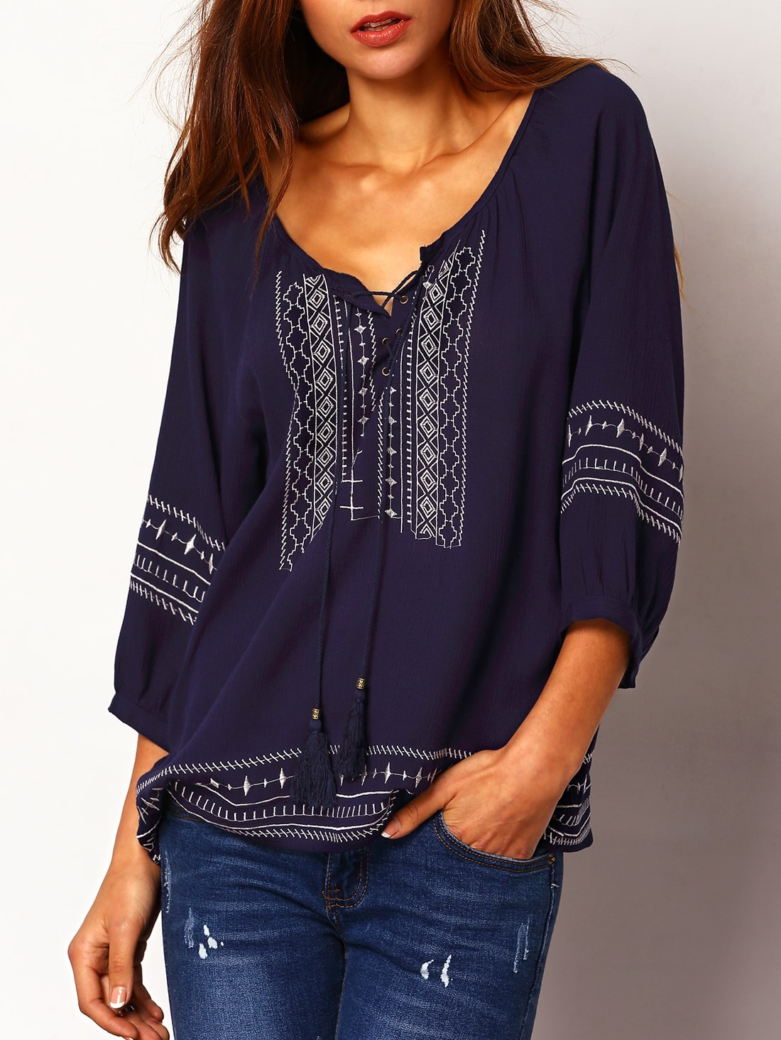 Lace Up Embroidered Loose Blouse