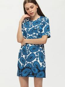 Blue Tribal Print Side Slit Shift Dress