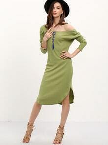 Green Side Slit V Back Dress