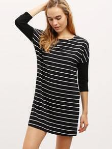 Black Crew Neck Striped Dress