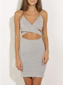 Grey Spaghetti Strap Cut Out Dress