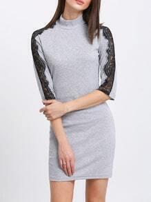 Grey Mock Neck Contrast Lace Sleeve Dress