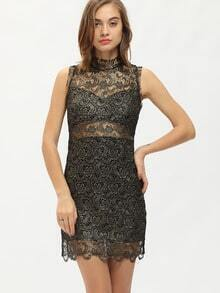 Black Mock Neck Sequined Lace Embroidered Bodycon Dress