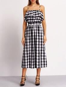 Black and White Plaid Off The Shoulder Dress