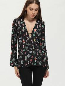 Black Deep V Neck Cartoon Print Blouse