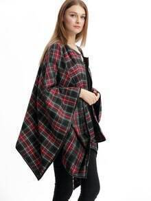 Black Plaid Collarless Asymmetric Coat