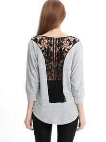 Grey Contrast Crochet Back High Low T-Shirt
