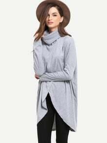 Grey Turtleneck Wrap Front T-Shirt