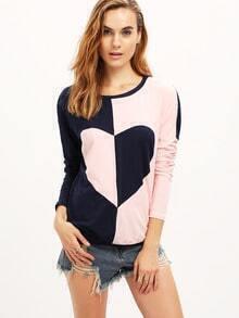 Crew Neck Color Block Heart Pattern T-Shirt
