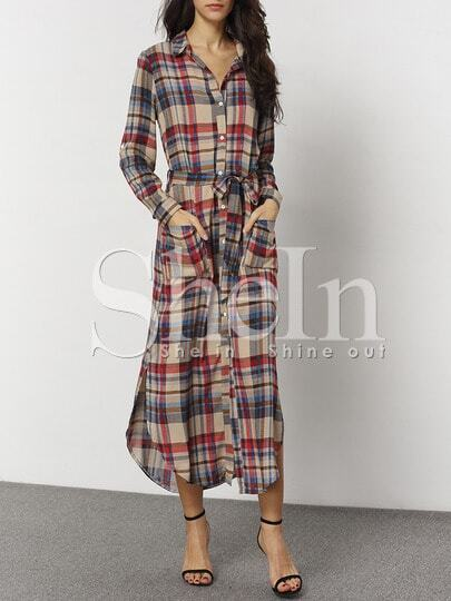 Plaid Belted Pockets Side Slit Shirt Dress