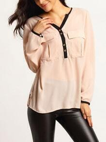 Pink Pockets Color Blcok Trims Side Slit Blouse