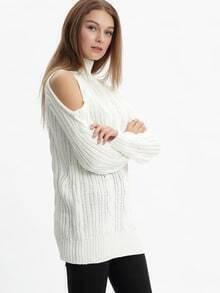 Jersey cuello alto hombro frío -blanco