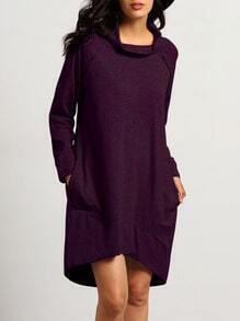 Burgundy Cowl Neck Sweatshirt Dress