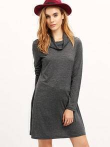 Grey Crew Neck Tshirt Dress