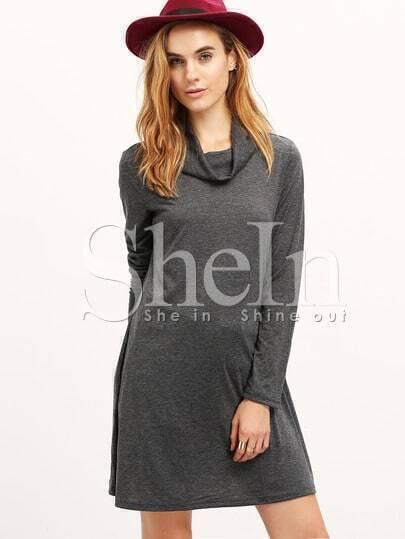 Grey Crew Neck Tshirt Dress