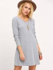 Grey Ribbed A Line Dress