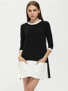 Black Crew Neck Contrast Flounce Dress