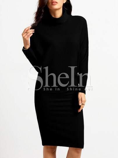Black Mock Neck Sheath Dress