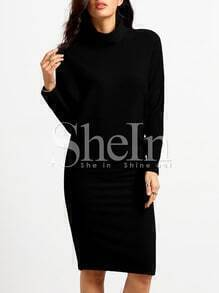 Black Mock Neck Sheath Dress