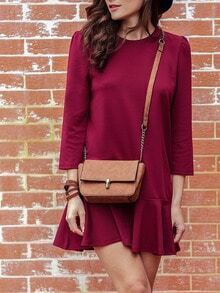 Burgundy Crew Neck Flounce Dress