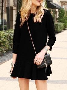 Black Crew Neck Flounce Dress