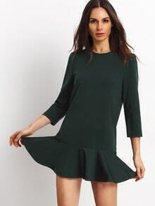 Green Crew Neck Flounce Dress
