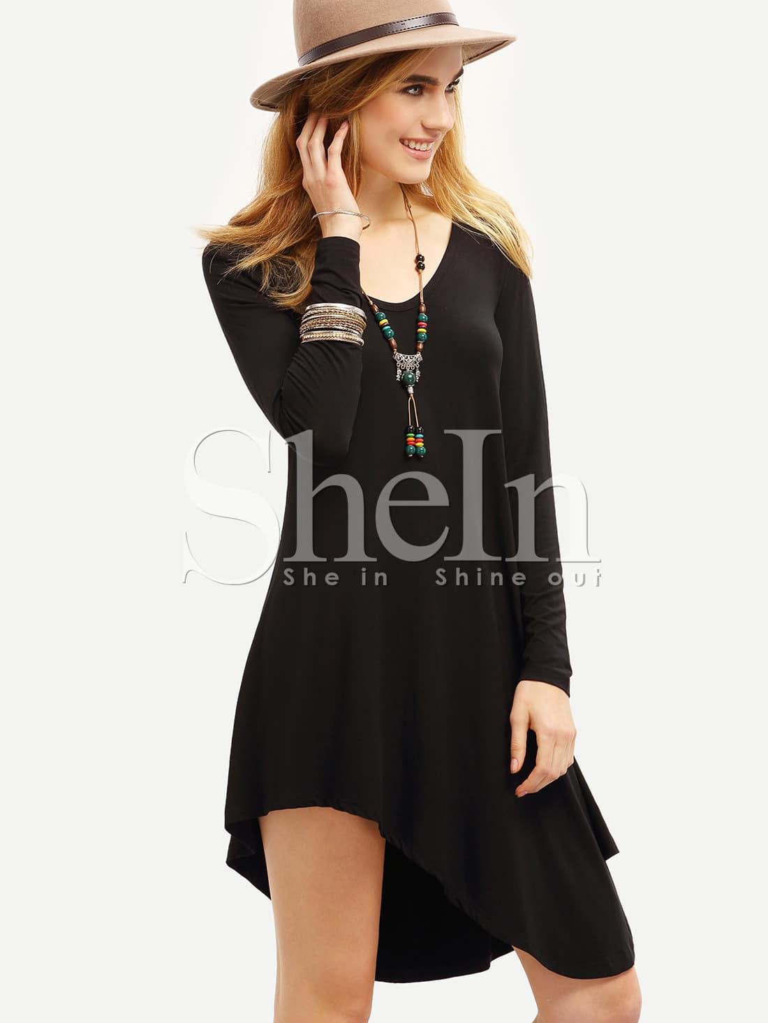 Фото Black Scoop Neck Asymmetric Dress. Купить с доставкой