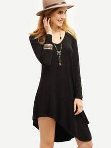 Black Scoop Neck Asymmetric Dress