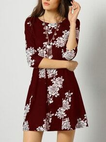 Burgundy Crew Neck Floral Dress