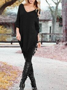 Black V-Neck Tassel Pullover Sweater