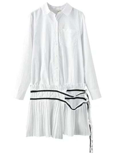 White Lapel Pocket Pleated Shirt Dress